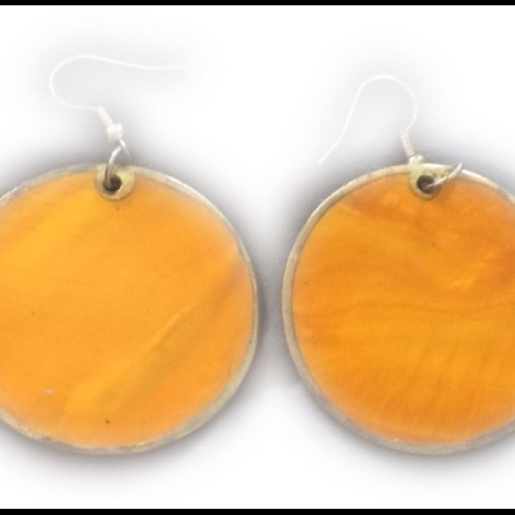Jewelry - Orange Circle Earrings